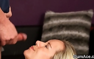 Glum hottie acquires goo shot insusceptible to her face swallowing all the cum