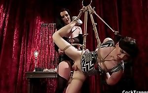 Goddess anal fucks shemale surrounding bondage