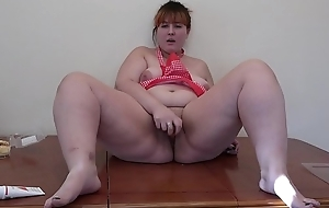 Constitutional masturbation out of reach of rub-down the kitchen table, bbw with carrot plus 'lite leman anal plus hairy pussy.
