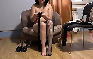 Sexy legs on touching nylons, unskilled foot fetish with pantyhose, nylons added to socks from Russian brunette.