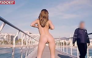 Deserted petite babe fucked hard on a public beach - Sandra Wellness