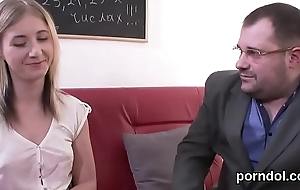 Erotic college unsubtle gets enticed and fucked hard by elder statesman teacher