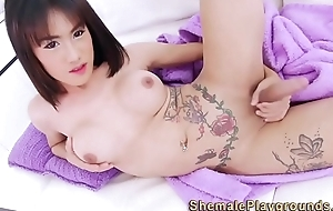 Hot asian shemale tugs