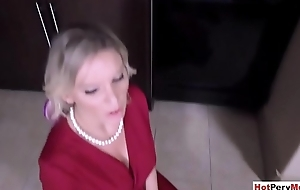 Stepson orders Mr Big handcuffed MILF stepmother to suck