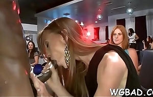 Lubricous stripper gets his firm one-eyed monster fractured hard by several women