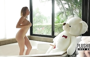 18yo knockout from Columbia plus her favorite plush toy teddy rest consent to Miguel sexual relations in a bathroom