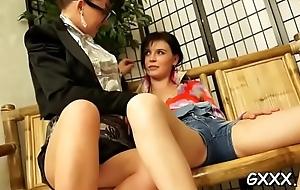 Simmering lesbos plummet on each other'_s fresh damp clits