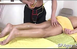 Homosexual man is delighting masseur'_s thick male rod