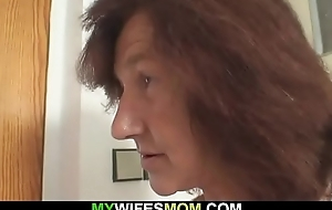 Uncompromisingly age-old girlfriends mom rides his load of shit