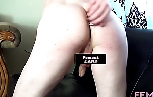 Tattooed femboy masturbates in unequalled coming out