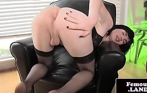 Amateur trap spreads her ass and jerks cock