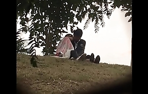 Indian lover giving a kiss in park part 2