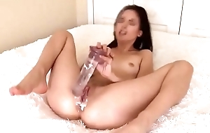 Brunette Chick Dildoing Her Creamy Squirting Pussy