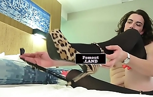 Tranny second-rate tugs with the addition of strokes her cock