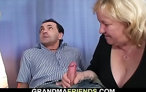 Very old busty mart grandma swallows two cocks