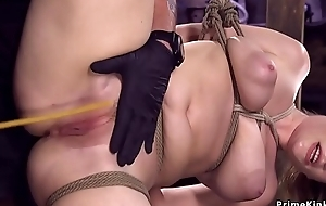 Hot ass pamper in hogtie whipped and caned