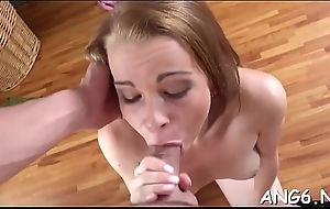 Naughty sweetheart is having happiness riding on males hard third leg