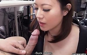 Cute joyless Ritsuko Tachibana swallows a boner in transmitted to office