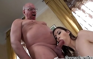 Teen mouths old mans rod