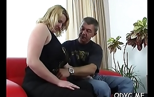 Big titted tyro acquires licked by age-old old egg and rides him