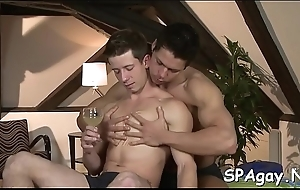 Twink is giving a charming oral job for cute elated masseur