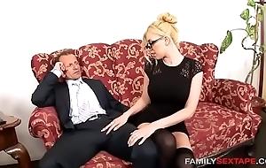Careless stepdaughter is daddys naughty secretary