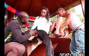 Clothed and excited hotties acquiring a huge cock knock out