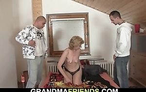 Small titted sustenance mama pleases team a few men