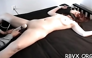 Ballgagged together with unable there move, this gal gets stimulated