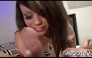 Lucky teen enjoys killer head from fascinating brunette