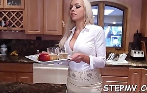 Stepmom shows gone her moves with a hawt smile in the first place her prospect
