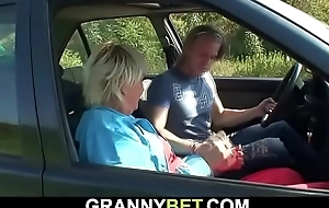 He doggy-fucks age-old granny right in the first place the road-side