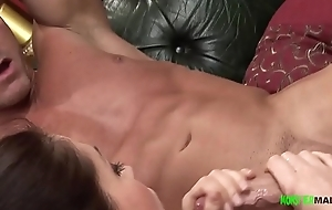 Big dick muscled stud copulates a filthy frowardness horny white wife as hubby watches