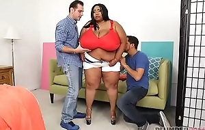 Enormous Knocker Ebony BBW Cotton Candi Gets Double Teamed