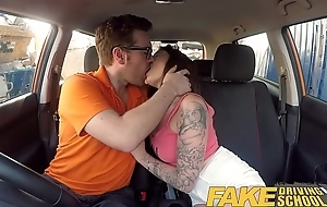 Feign Driving School Spanish kitty gyrate rides cock