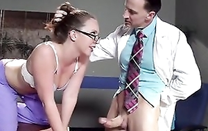Downcast nurse all over glasses receives properly screwed by her accessary