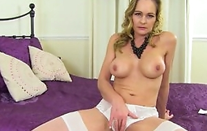 Mature shows pussy in panties, spread her frontier fingers and rub her pussy with pink making love toy