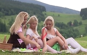 Nice crafty lesbian experience between three teen beauties having lots of joke pile up outdoor at one's fingertips picnic, licking pussies, not in one's wildest dreams sex toys, moaning from pleasure