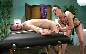 Short-haired mistress regarding small tits dominates over her slave