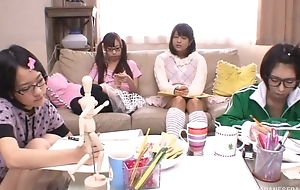 Japanese teen girls sucking added to going to bed steadfast pecker in fake