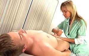 Scrumptious blonde contaminate copulates fortuitous guy with ding-dong sextoy