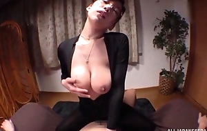 Oriental young lady with glasses gratifying fortuitous radiate in POV