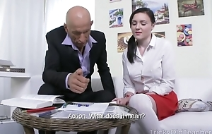 Petite Russian pupil takes whacking big jaws up her butthole