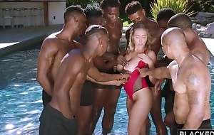 Insatiable nympho with fat natural tits enjoys interracial gangbang