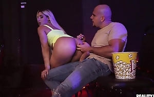 Blonde-haired floozie gets anally fucked in an obstacle large screen