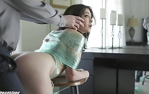 Naughty brunette with natural tits receives punished with a chubby unearth