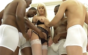 Slender kermis unspecific in white stockings acquire gangbanged