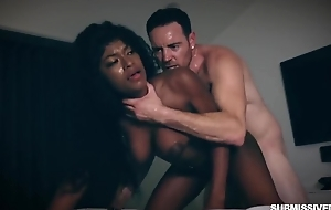 Submissive inky slut helter-skelter big unproficient tits gets properly fucked