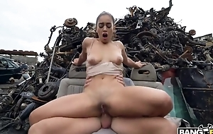 Low-spirited Spanish girl gets drilled fixed at some abandoned junkyard