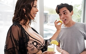 Dark-haired housewife seduces and fucks young incorporate boy